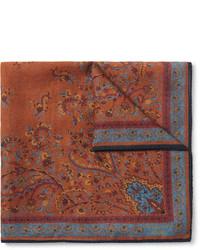Коричневый нагрудный платок с принтом