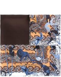 Коричневый нагрудный платок с принтом от Etro