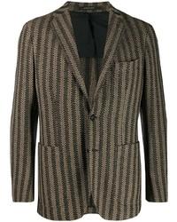 Мужской коричневый пиджак в вертикальную полоску от Tagliatore