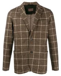 Мужской коричневый пиджак в клетку от Altea