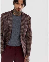 Мужской коричневый пиджак в клетку от ASOS DESIGN