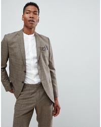 Мужской коричневый пиджак в клетку от Selected Homme