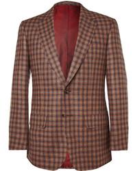 Мужской коричневый пиджак в мелкую клетку
