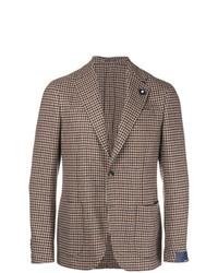 Мужской коричневый пиджак в мелкую клетку от Lardini
