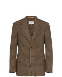 Мужской коричневый пиджак в мелкую клетку от Maison Margiela