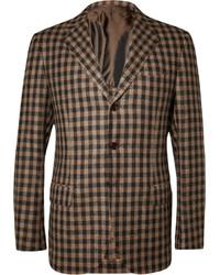 Мужской коричневый пиджак в мелкую клетку от Piombo