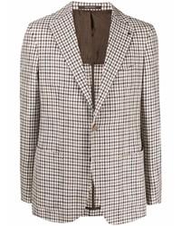 Мужской коричневый пиджак в мелкую клетку от Tagliatore