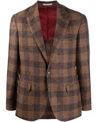 Мужской коричневый пиджак в шотландскую клетку от Brunello Cucinelli