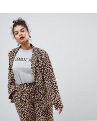 Коричневый пиджак с леопардовым принтом