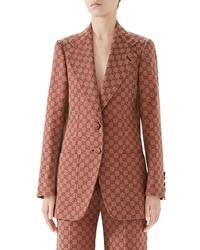Коричневый пиджак с принтом