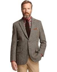 """Мужской коричневый пиджак с узором """"в ёлочку"""" от Brooks Brothers"""