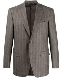 """Мужской коричневый пиджак с узором """"в ёлочку"""" от Canali"""