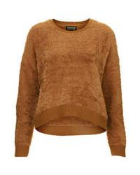 Коричневый пушистый свитер с круглым вырезом