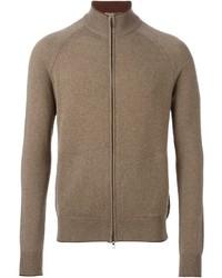 Коричневый свитер на молнии