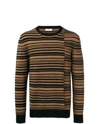Коричневый свитер с круглым вырезом в горизонтальную полоску