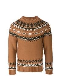 Коричневый свитер с круглым вырезом с жаккардовым узором
