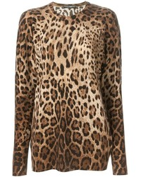 Коричневый свитер с круглым вырезом с леопардовым принтом