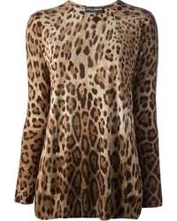 Женский коричневый свитер с круглым вырезом с леопардовым принтом от Dolce & Gabbana