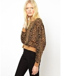 Женский коричневый свитер с круглым вырезом с леопардовым принтом от Just Female
