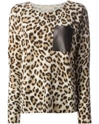 Женский коричневый свитер с круглым вырезом с леопардовым принтом от MICHAEL Michael Kors
