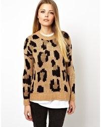 Женский коричневый свитер с круглым вырезом с леопардовым принтом от Pull&Bear