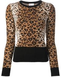 Женский коричневый свитер с круглым вырезом с леопардовым принтом от RED Valentino