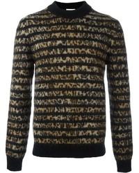 Мужской коричневый свитер с круглым вырезом с леопардовым принтом от Saint Laurent