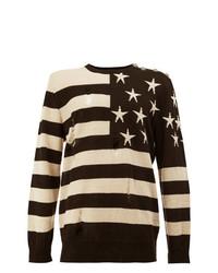 Мужской коричневый свитер с круглым вырезом с принтом от Balmain