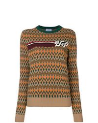 Женский коричневый свитер с круглым вырезом с принтом от Prada