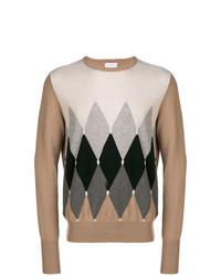 Мужской коричневый свитер с круглым вырезом с ромбами от Ballantyne