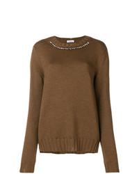 Женский коричневый свитер с круглым вырезом с украшением от P.A.R.O.S.H.