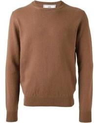 Коричневый свитер с круглым вырезом