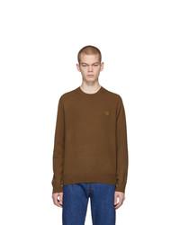 Мужской коричневый свитер с круглым вырезом от Acne Studios