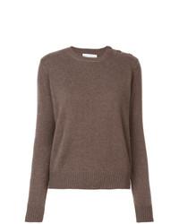 Женский коричневый свитер с круглым вырезом от Alexandra Golovanoff