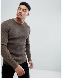 Мужской коричневый свитер с круглым вырезом от ASOS DESIGN