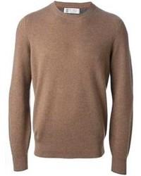 Мужской коричневый свитер с круглым вырезом от Brunello Cucinelli