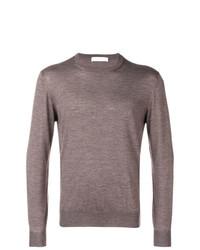 Мужской коричневый свитер с круглым вырезом от Cruciani