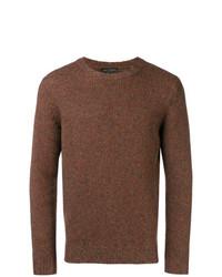 Мужской коричневый свитер с круглым вырезом от Dell'oglio