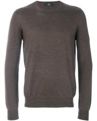 Мужской коричневый свитер с круглым вырезом от Fay