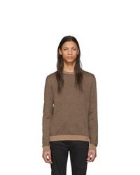 Мужской коричневый свитер с круглым вырезом от Fendi