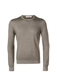 Мужской коричневый свитер с круглым вырезом от La Fileria For D'aniello