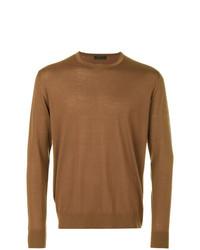 Мужской коричневый свитер с круглым вырезом от Prada