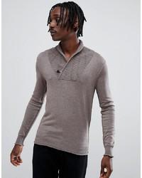 Коричневый свитер с отложным воротником от Antony Morato