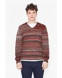 Коричневый свитер с v-образным вырезом с жаккардовым узором