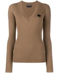 коричневый свитер с v образным вырезом original 1323177