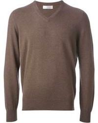 Коричневый свитер с v-образным вырезом