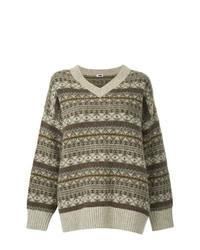 Коричневый свободный свитер с жаккардовым узором