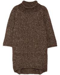 Коричневый свободный свитер