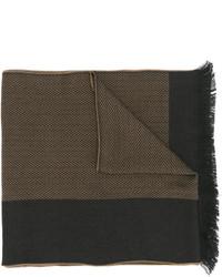Мужской коричневый шарф в горизонтальную полоску от Versace
