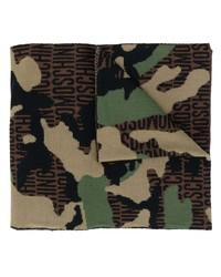 Мужской коричневый шарф с камуфляжным принтом от Moschino